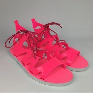 Bamboo Neon Plastic Gladiator Sandals